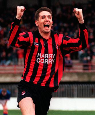 Stephen Baxter celebrates as the Crues close in on the title in 1997