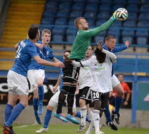 All rise: Glenavon's Kris Lindsay in action against FH Iceland in the Europa League last season