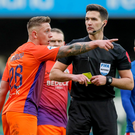 Official complaint: Glenavon's Matthew Snoddy remonstrates with referee Ian McNabb
