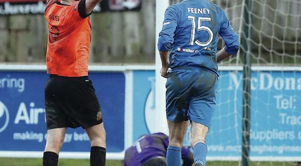 Guy Bates laps up the adulation after completing his hat-trick and Glenavon's win with a stoppage-time penalty