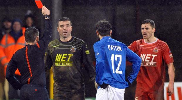 Seeing red: Ports keeper David Miskelly is sent off