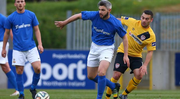 Familiar: Dave Elebert saw old side Derry lose to Soligorsk