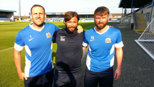 Ambitious: Glenavon boss Gary Hamilton (centre) with new signings Guy Bates (left) and Paddy McCourt