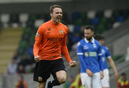 Goal-den moment: Andy Hall was on target as Glenavon put Linfield to the sword in last season's Irish Cup final