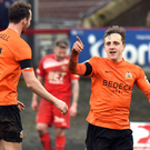 Star man: Joel Cooper makes it 2-0 to Glenavon
