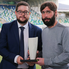Top man: Gary Hamilton receives his Manager of the Month award from Keith Bailie of the NIFWA
