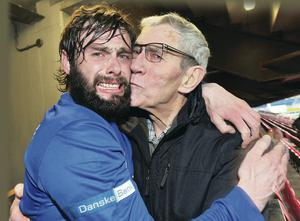 Generation game: Gary Hamilton celebrates victory with his grandfather George Dennison