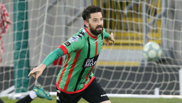 Knockout blow: Curtis Allen is on target to rock David Healy's side at Windsor Park last night