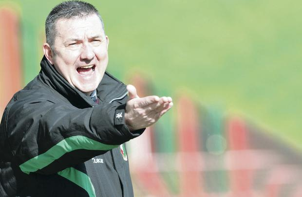 Rallying call: Glentoran boss Eddie Patterson has given his squad something substantial to aim for