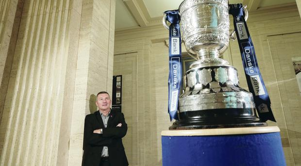 Bring it on: Glentoran manager Eddie Patterson at last night's Danske Bank Premiership launch at Stormont