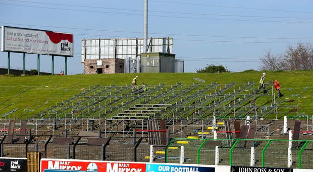 Temporary seating at the Oval