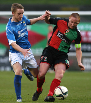 Rally cry: Glentoran's Stephen McAlorum against Dungannon