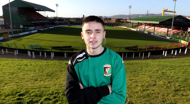 Rising star: Glentoran's youngest ever outfield player, 15-year-old Ethan Warnock has agreed a two-year scholarship with Everton and his progress at The Oval hints at a huge future in the game