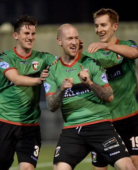 In like Flynn: Stephen O'Flynn celebrates his second goal in Glentoran's 3-1 win over Ards