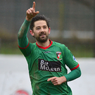Target practice: Curtis Allen believes Glentoran can land a psychological advantage by climbing into seventh spot tonight