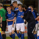 Super sub: Josh Daniels celebrates his late Glenavon equaliser with manager Gary Hamilton just minutes after being introduced from the bench. Photo: Stephen Hamilton/Presseye