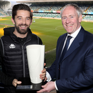 Prize guy: Curtis Allen receives his Player of the Month award for February
