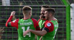 Belief: Curtis Allen after his goal on Saturday