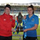 Up for the cup: Kelly Bailie of Glentoran (left) and Linfield's Jennifer McDade with the trophy