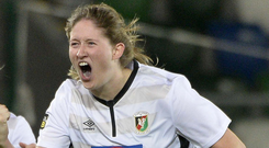 Mikayla Mulholland celebrates her first goal