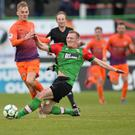 Tough time: Mark Sykes is challenged by Glentoran's Steven Gordon