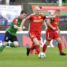 Ryan Catney in action for Cliftonville.