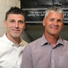 Former Glentoran manager Gary Smyth (right) has left the club while the future of coach Paul Leeman is as yet unclear.