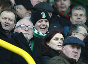 Famous face: Fifa president Gianni Infantino, in Glens colours, was part of the Irish Cup quarter-final day crowd at The Oval