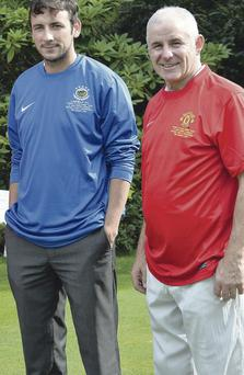 Star company: Former Manchester United favourite Arthur Albiston joins Michael Gault at Clandeboye Golf Club