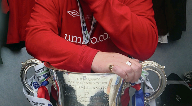 Emotional scene: David Jeffrey weeps after Linfield's 2011 Irish Cup victory over Crusaders