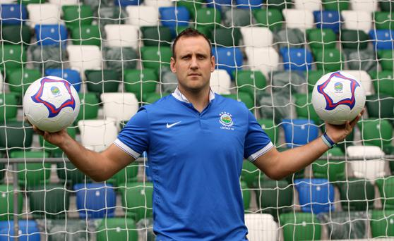 Having a ball: Guy Bates is expected to make his competitive debut for Linfield after joining from Glenavon over the summer