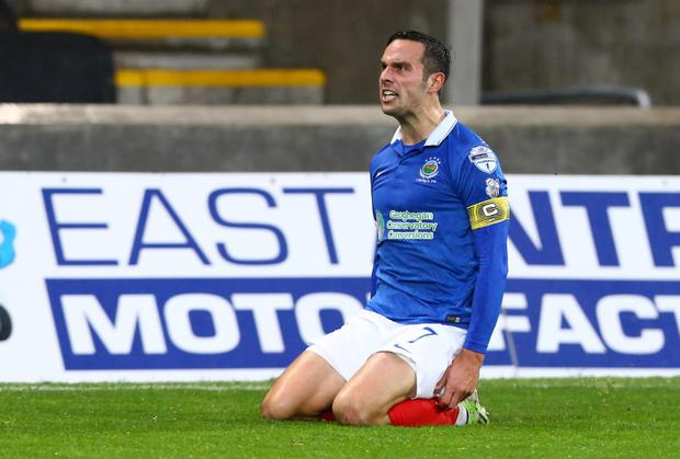 On their knees: Andy Waterworth and Linfield have suffered three straight league defeats