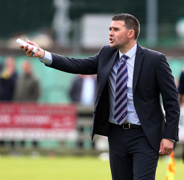 Showing the way: Linfield manager David Healy wants his men to stand up and be counted in the County Antrim Shield semi-final against Carrick Rangers