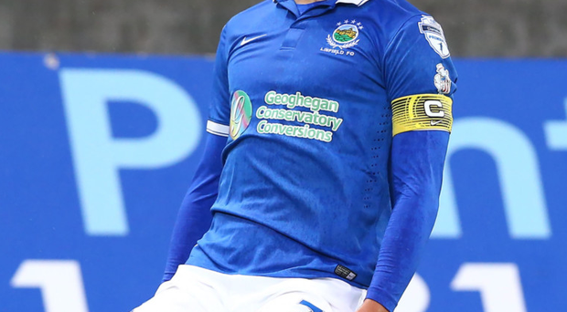 Victory roar: Linfield striker Andy Waterworth is gunning for his old club today