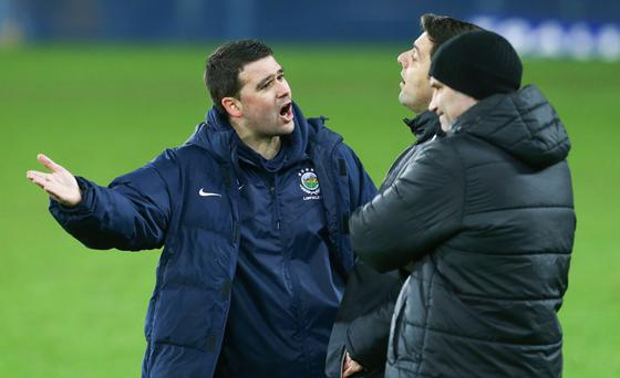 Not happy: David Healy makes his point to fourth official Andrew Davey during the Shield final