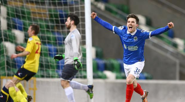 Roaring impact: Paul Smyth has been in dazzling form since breaking into the Linfield first team this season
