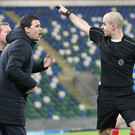 Off you go: Linfield boss David Healy is sent off by referee Lee Tavinder at Windsor Park