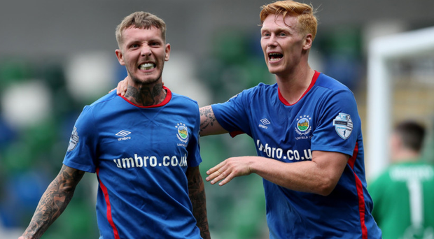 Roar of approval: Kirk Millar takes the acclaim from Chris Casement after doubling Linfield's advantage
