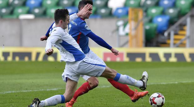 Andy Waterworth finds the net for Linfield