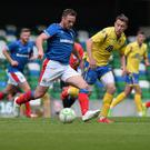 In control: Jamie Mulgrew pulling the strings during Linfield's friendly against St Johnstone