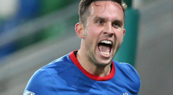 History boy: Andy Waterworth became Linfield's all-time record goalscorer in Europe with his double against HB Torshavn
