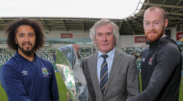 Cup fever: (from left) Linfield ace Bastien Hery, Pat Jennings and Dundalk's Chris Shields attend the Unite the Union Champions Cup launch yesterday