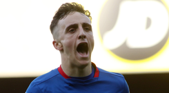 Killer touch: Linfield's Joel Cooper, who bagged a double against Ballymena United on Saturday at Windsor, says he's striving to add more goals to his tally for the Blues this season
