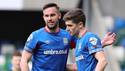 Cameron Palmer (right) is congratulated on his Irish Cup goal by star striker Andy Waterworth.
