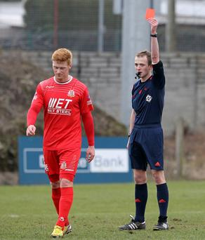 Case won: Portadown's Chris Casement is sent off in March but his suspension has been lifted after a successful appeal