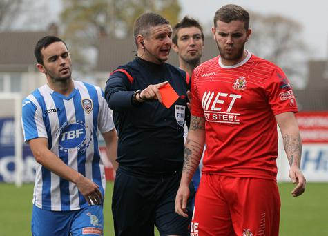 Marching orders: Darren Murray, who has handed in a transfer request amid interest from Cliftonville, is sent off for Portadown last season