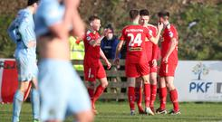Ryan Curran celebrates the second of his two goals