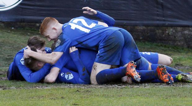 Relief: Douglas Wilson is mobbed after firing the Swifts' winner