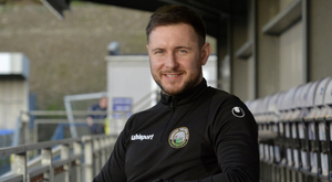At the helm: Stephen McDonnell has defied expectations as Warrenpoint manager, leading them to safety and an Irish Cup semi-final spot