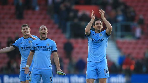 Frank Lampard, right, will struggle to leave Manchester City for New York City FC midway through a Premier League title battle, according to Manuel Pellegrini